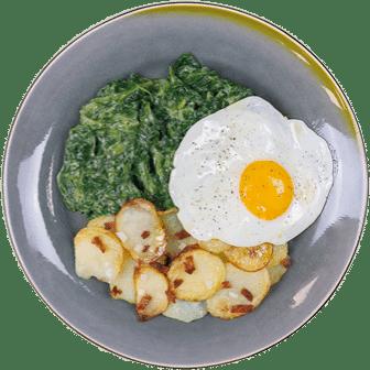 Spinazie, Gebakken Ei en Gebakken Aardappelen met Spekjes